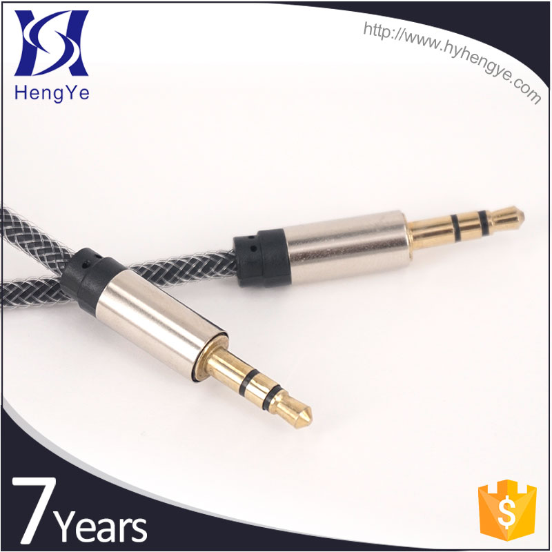 Hengye cheap mini 3.5mm Jack 1m free print logo Aux Audio Cable for Samsung Galaxy