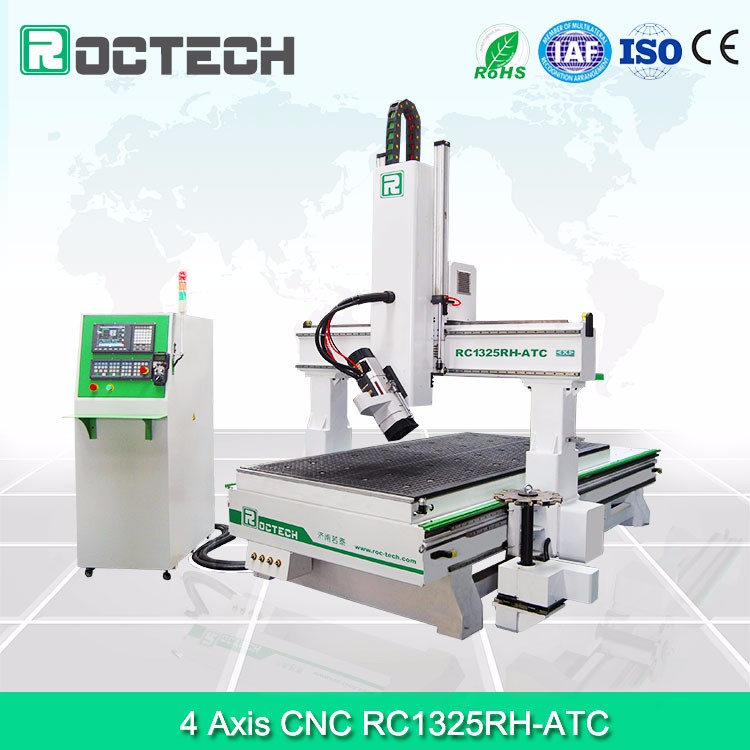 High Precision 4 Axis CNC Wood Router Machine RC1325RH-ATC Wood Drilling/Milling Machinery