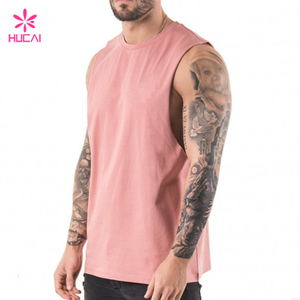 Wholesale Raw Edge Arm Hole Pink Gym Stringer Muscle Fit Male Tank Top