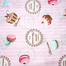 textile printing cake pattern pink sateen cotton fabric for girl