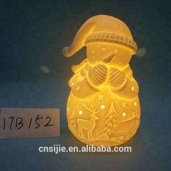 Ceramic Snowman Lighted Wholesale Ceramic Christmas Decorations White LED Snowman