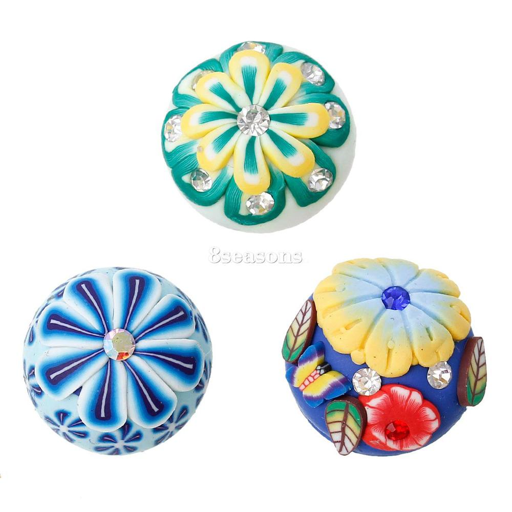 Polymer Clay+Rhinestone Cabochon Round Mixed Flower Pattern 18mm-19mm Dia, 25 PCs