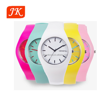 hot sell OEM costom Water proof cheap lady geneva silicone jelly women wrist watch