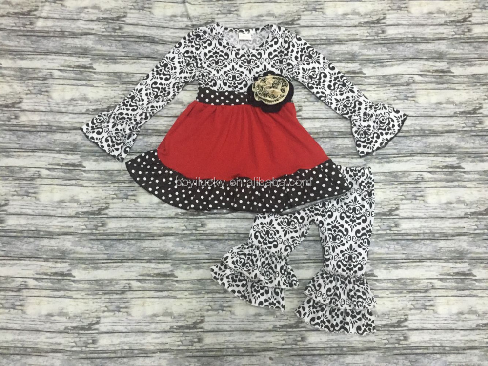 toddler girl clothes set fall 2016 kids winter clothing sets girls floral dress top and black ruffle pant set