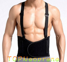 Neoprene High quality Double Pull Back Support Lumbar Brace Belt with Shoulder Straps