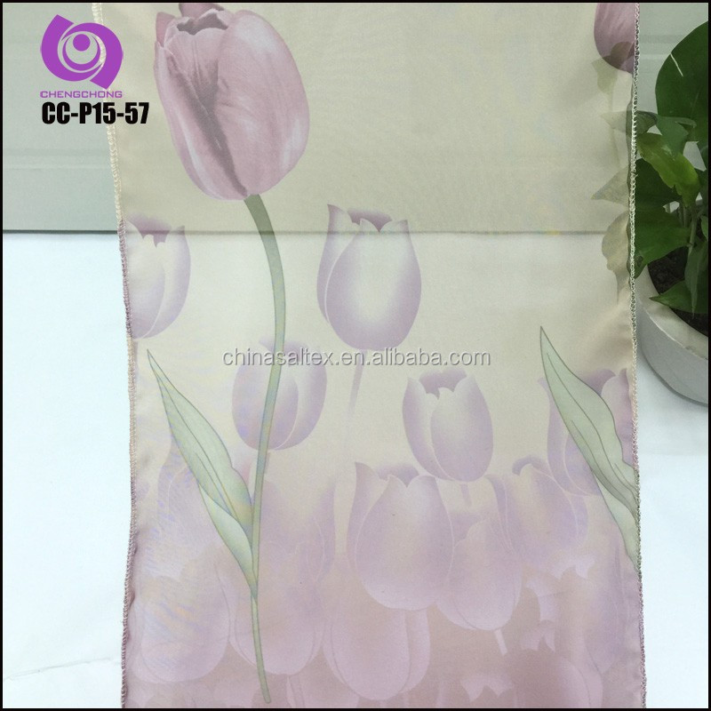 Home Textile 100% Polyeste Tulip Printed Voile Curtain Fabric