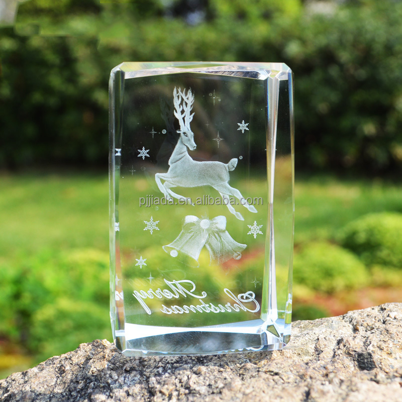 Cute animal Theme 3D Laser etched Engraved Tibetan antelope Glass Crafts birthday Presents Crystal Cube