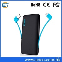 built in cable dual usb universal external portable power bank