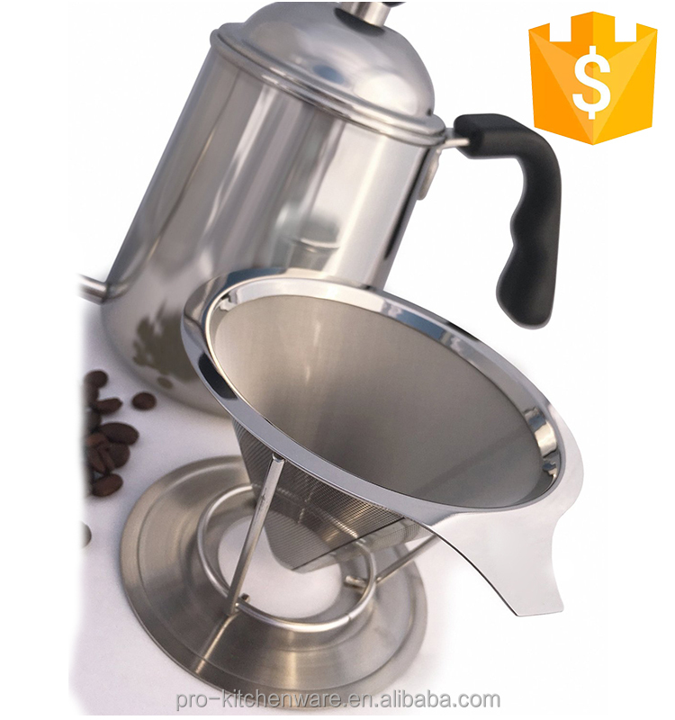 China manufacture reusable metal drip coffee filter cone with handle