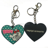 custom heart shaped soft pvc keychain