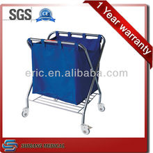 SJ-SS023 Stainless steel hospital linen trolley with bag