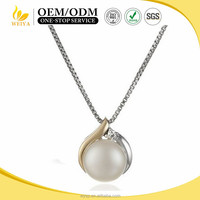 women grace single white Pearl inlay zircon Pendant stainless steel Necklaces Jewelry