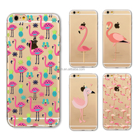 Cute Flamingo Transparent Soft Silicone TPU Cover Case for Apple iPhone 5S 5C 6 6s 6plus 7 7plus Flamingo phone cover