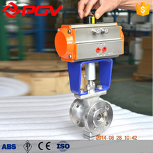 high quality flange connection type V type pneumatic ball valve
