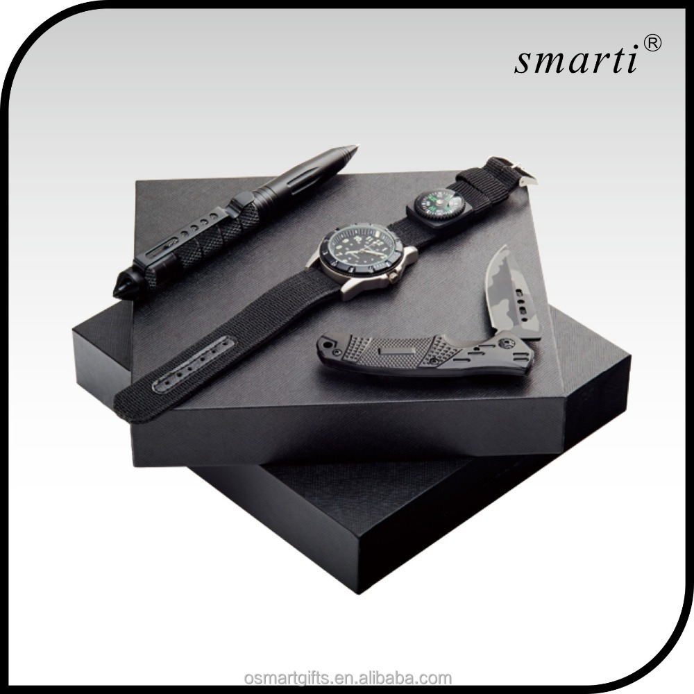 2016 outdoor men women utility pen knife watch corporate gift sets