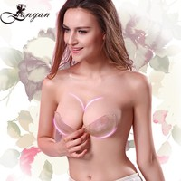 New design bra push up invisible silicone strapless bra with glue