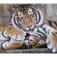 CHENISTORY DZ1377 Paint By Numbers Kits Oil Painting Tigers No Frame Wall Decor Art