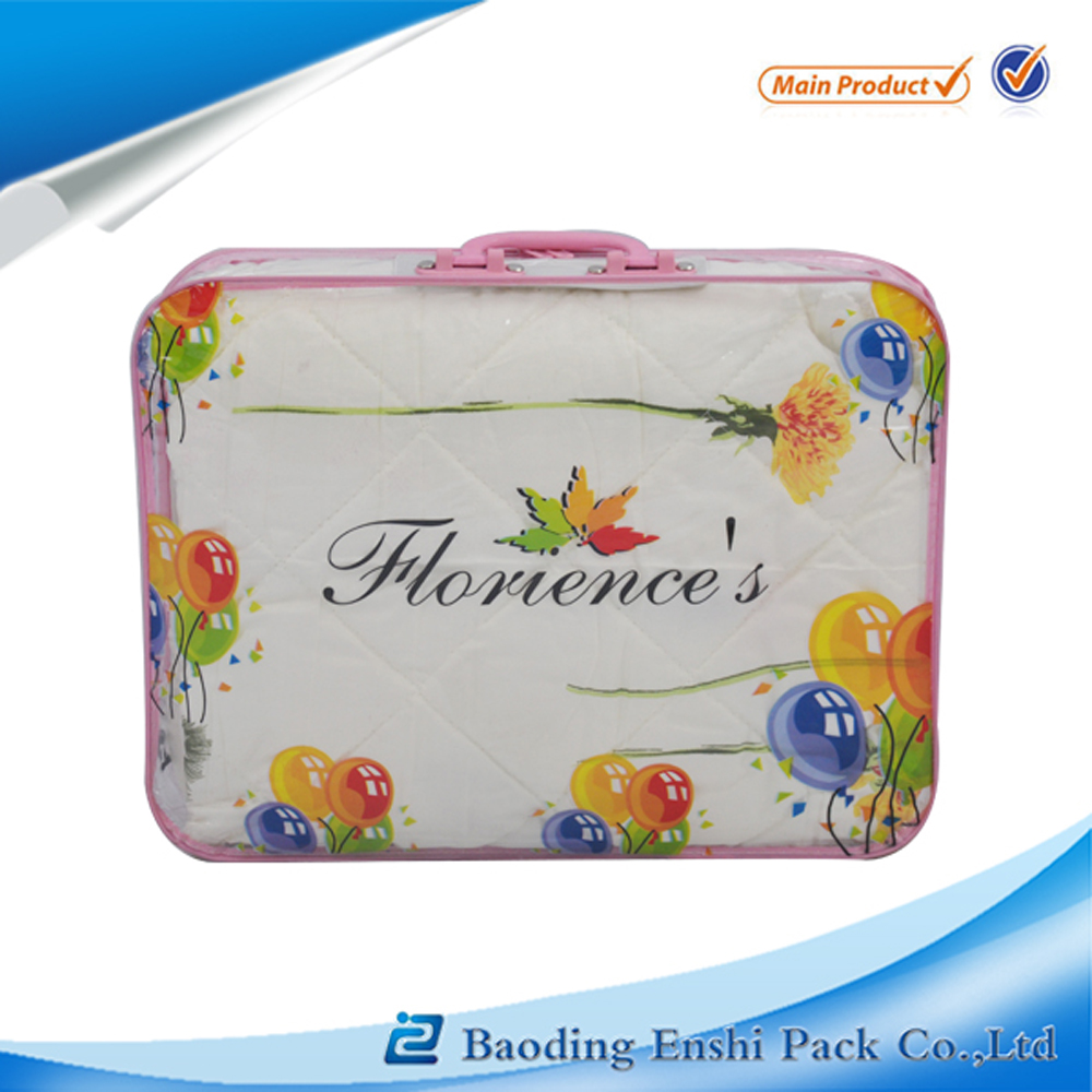 Free sample offer pvc blanket zipper bag blanket cover with printed logo