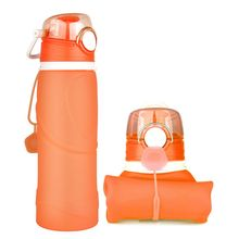 Portable creative design rolling up food grade silicone+pp 750ml travel outdoor bottle