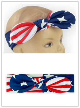 4th Of July Baby Elastic Headband The Stars And The Stripes Pattern Knot Headband For Baby Boutique Baby Girl Cotton Headband