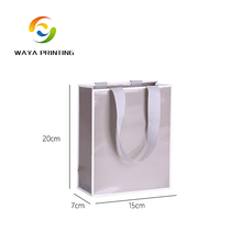 Plain Glossy printed Grosgrain ribbon inserted handle pretty paper gift bag wholesale