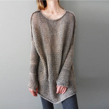 Wholesale Ladies Loose Pullover Long Sleeve Cable Knitted Sweater Women