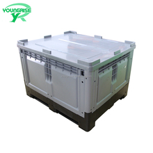New design folding Large plastic pallet bins,collapsable food containers for fruit and vegetables with lid