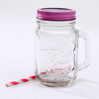 16oz pink color glass mason jar with handle Contemporary Colour Clip Top Storage