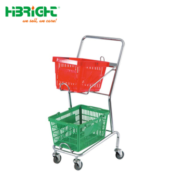 Supermarket Double Basket Shopping Trolley Cart