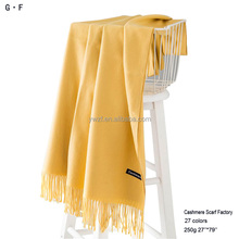 Cheap 27 colors 250g 100% pure knitted solid color cashmere pashmina blanket shawl scarf