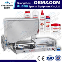 SFGG-2000-2 full pneumatic double head semi automatic skin whitening cream bottle filling machine