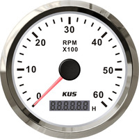 Waterproof KUS 85mm Marine Tachometer Car Truck Boat Tacho Gauge With Hour meter 0-6000RPM 12V 24V