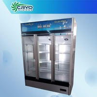 1000L big 110v convenience store restaurant retail triple three door refrigerator refrigerated showcase