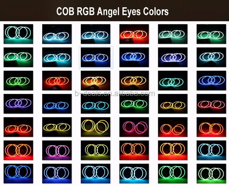 Full circle 60mm 70mm 80mm 90mm 100mm 110mm 120mm 140mm 145mm 160mm cob rgb angel eyes