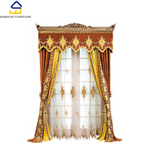 modern european style cotton fabric embroidered orange window curtains