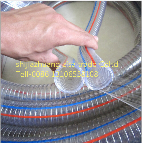 Flexibl sstainless high pressure PVC spiral steel wire hose