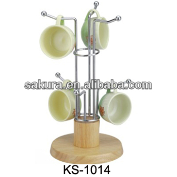 CHROME WIRE COFFEE CUP HOLDER WITH RUBBER WOOD BOTTOM FOR HOUSEWARE/ COFFEE MUG RACK AE-1014