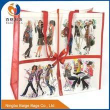 lady fashion recycled pp woven shopping bag with lamination