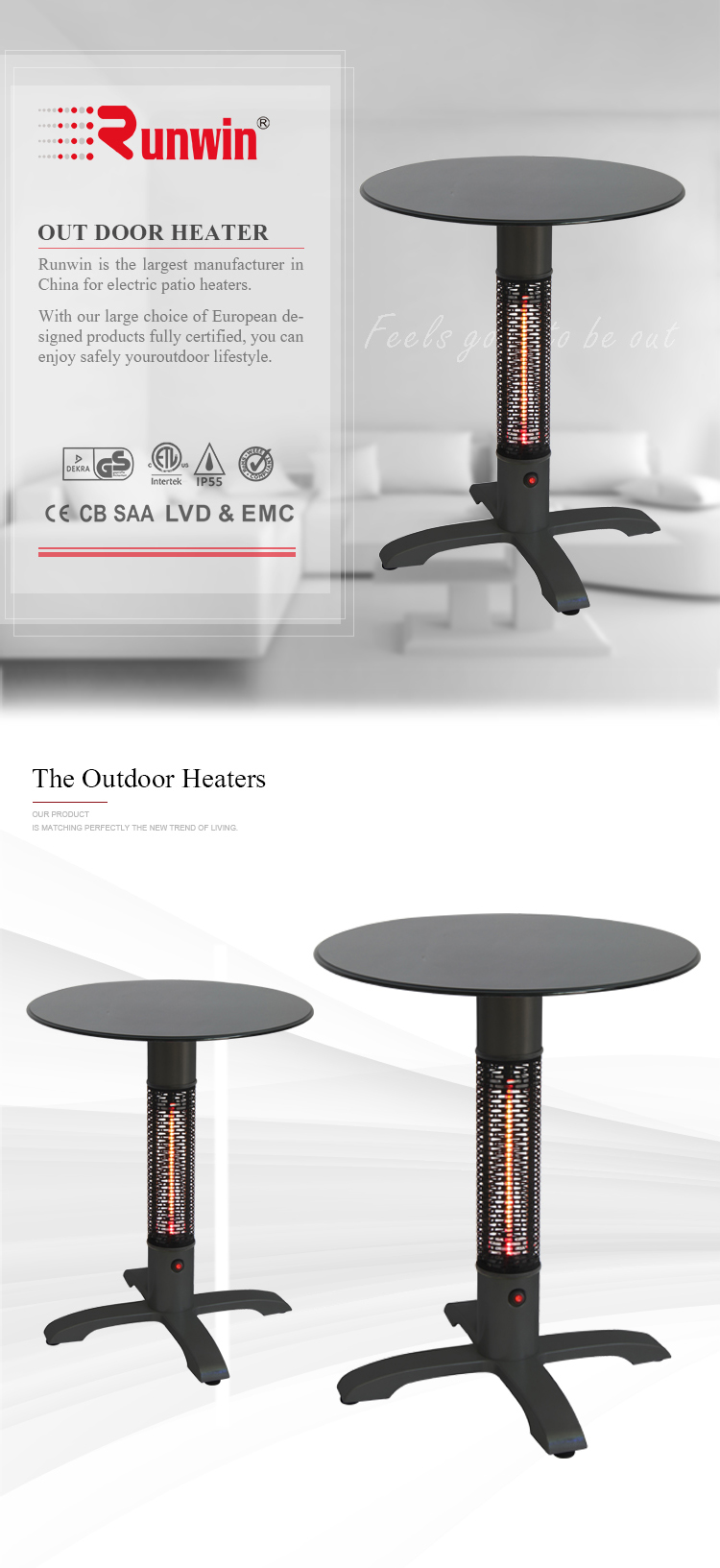High quality and low price two heating lamp table top patio heater
