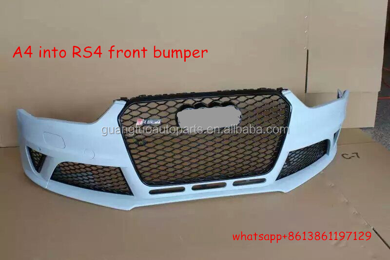 2012-2015 A4 upgrade to RS4 body kit PP material car front bumper for audi A4,S4,RS4,B9
