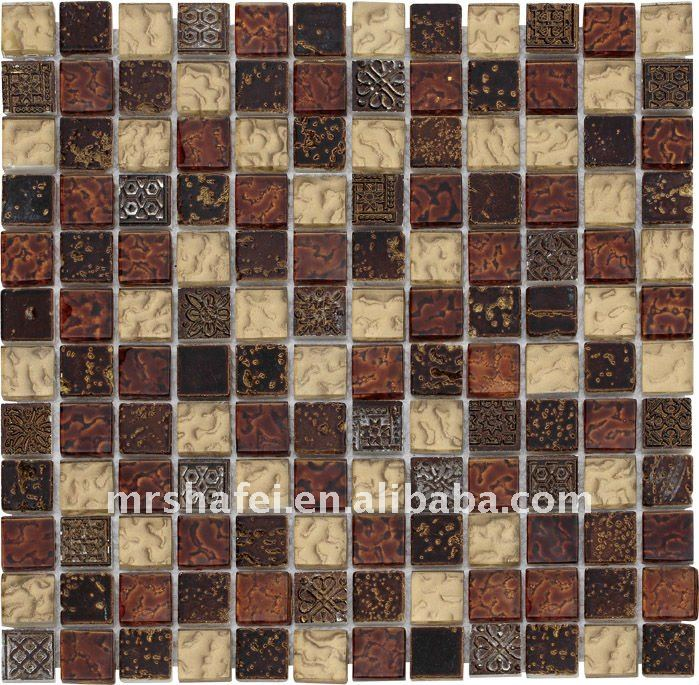 Egypt style crystal glass mix stone mosaic tile & resin mosaic tile