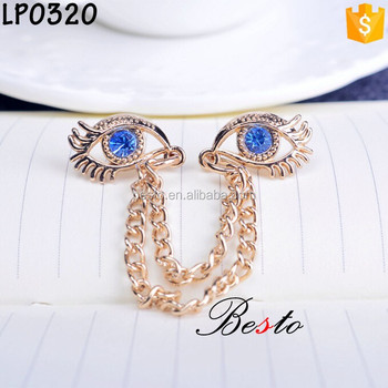 Cheap custom eye shape chian metal lapel pin