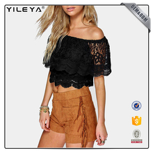 crochet lace frill off shoulder top,2017 new sexy design,OEM & ODM woman crop top