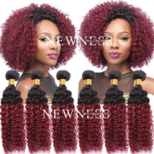 Fast delivery burgundy brazilian hair weave bundles ombre hair extension black and red wine brazilian hair