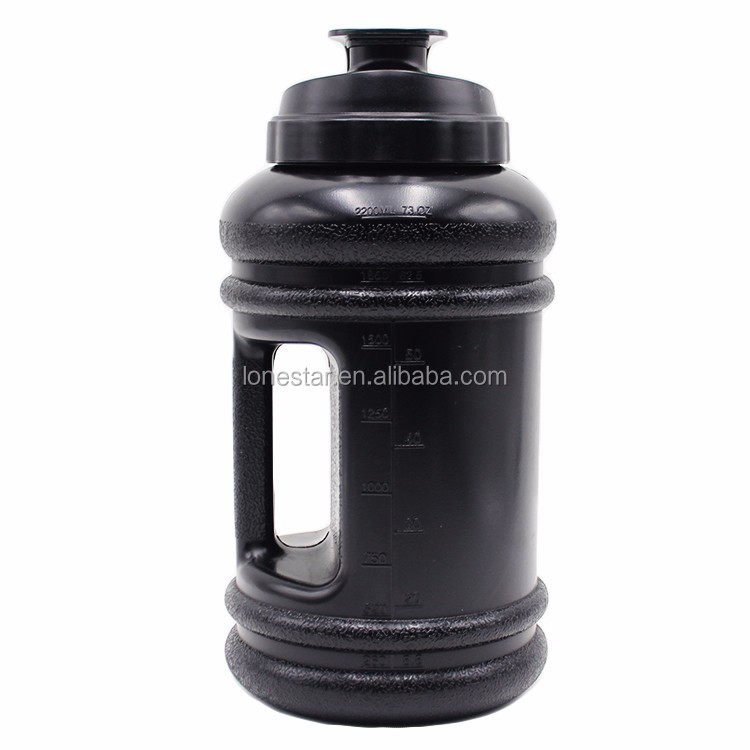 with handle deep black color 2.2Lbpa free fitness water bottle gym