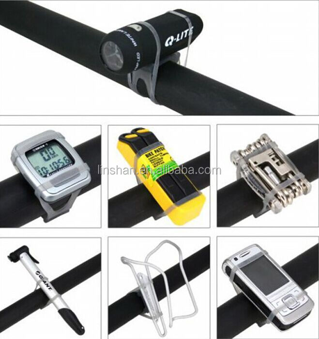 Bicycle Cycling Bike Band Silicone Elastic Strap Bandage Flashlight Mount Holder