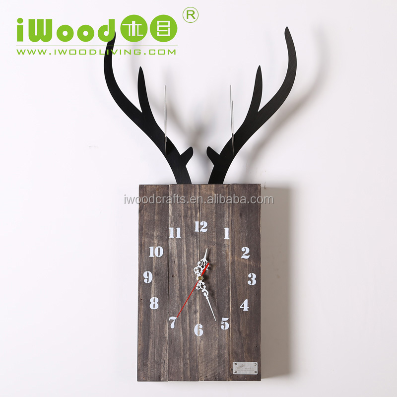 Funny desk clocks wooden reindeer antler design desk and table clock