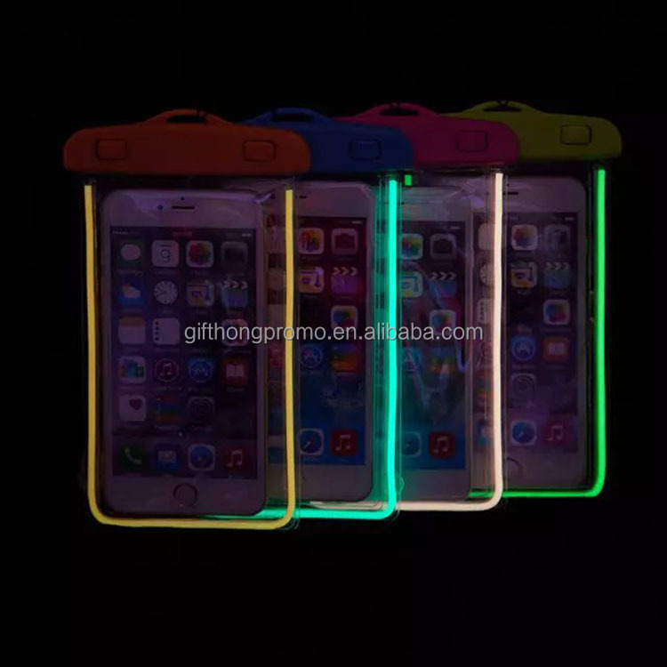 new design light up pvc bag waterproof mobile phone case