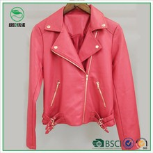 Golden Decoration Ladies PU Sexy Red Leather Jacket from Factory