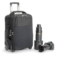 airport international rolling camera bag for 2 gripped dslrs with lenses attached